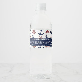 Navy Blue and red Anchor rudder pattern Nautical Water Bottle Label