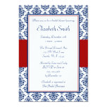 Navy Blue and Red Damask Bridal Shower 13 Cm X 18 Cm Invitation Card