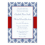 Navy Blue and Red Damask Wedding Invitations 13 Cm X 18 Cm Invitation Card
