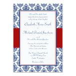 Navy Blue and Red Damask Wedding Invitations 13 Cm X 18 Cm Invitation Card