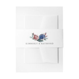 Navy Blue and Red Floral Invitation Belly Band