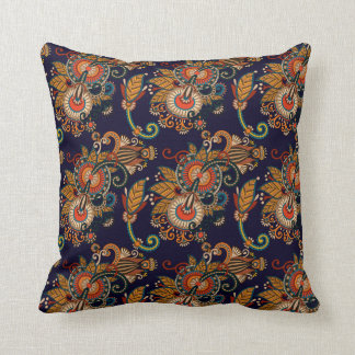 Navy Blue and Red Paisley Pattern Cushion