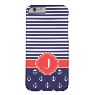 Navy Blue and Red Preppy Nautical Custom Monogram Barely There iPhone 6 Case