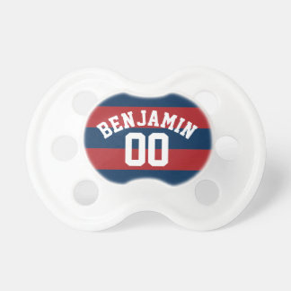 Navy Blue and Red Rugby Stripes Name Number Pacifier