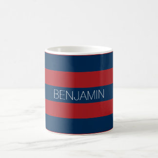 Navy Blue and Red Rugby Stripes with Custom Name Basic White Mug