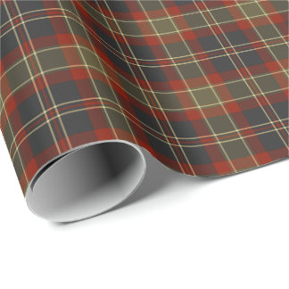Navy Blue and Red Rustic Plaid Pattern Wrapping Paper