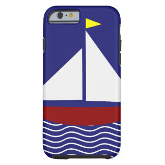 Navy Blue and Red Sailboat Design Tough iPhone 6 Case