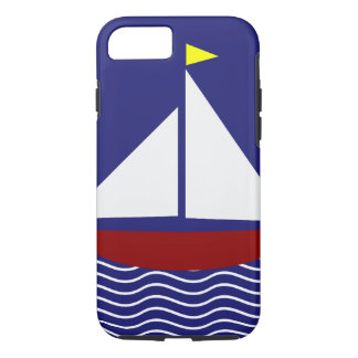 Navy Blue and Red Sailboat Design iPhone 8/7 Case