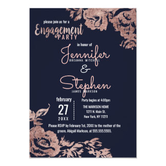 Navy Blue and Rose Gold Floral Engagement Party Card