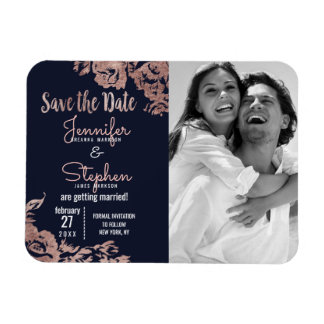 Navy Blue and Rose Gold Floral Save the Date Rectangular Photo Magnet