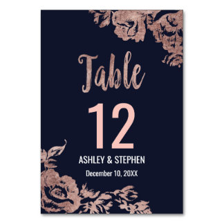 Navy Blue and Rose Gold Floral Table Numbers Table Cards