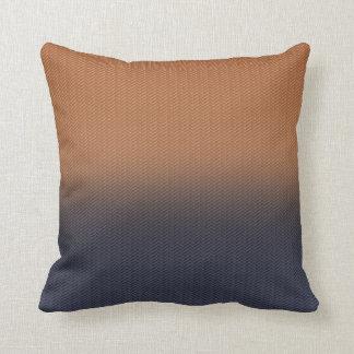 Navy Blue and Rust Brown Digital Herringbone Cushion