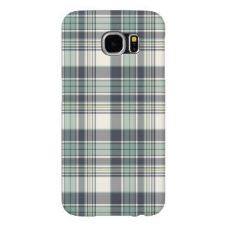 Navy Blue and Seafoam Coastal Plaid Samsung Galaxy S6 Cases