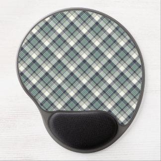 Navy Blue and Seafoam Green Coastal Plaid Gel Mouse Pad