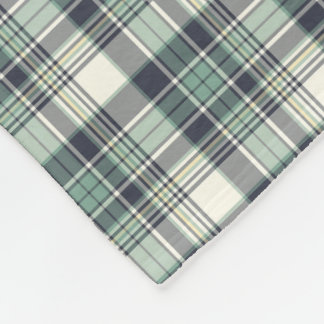 Navy Blue and Seafoam Green Plaid Fleece Blanket