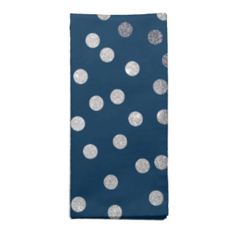 Navy Blue and Silver City Dots Napkin