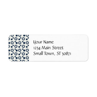 Navy Blue and Silver Concentric Circles Polka Dots Return Address Label