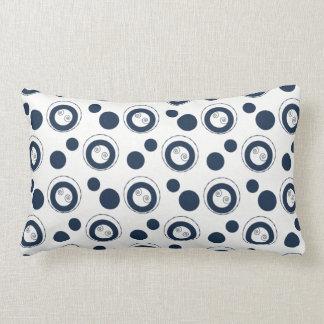 Navy Blue and Silver Concentric Circles Polka Dots Lumbar Cushion