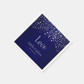 Navy Blue and Silver Confetti Dots Paper Napkin