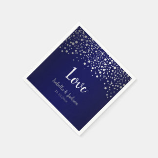 Navy Blue and Silver Confetti Dots Paper Napkin
