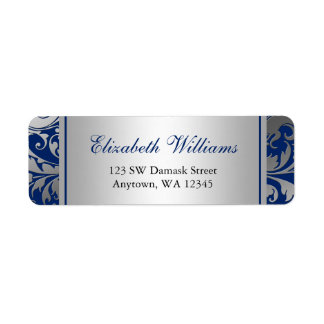 Navy Blue and Silver Damask Swirls Return Address Return Address Label