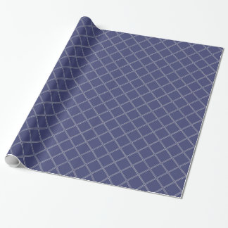 Navy Blue and Silver Geometric Diamond Pattern Wrapping Paper
