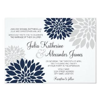 Navy Blue and Silver-Gray Floral Burst Wedding 13 Cm X 18 Cm Invitation Card