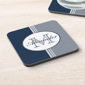 Navy Blue and Silver Grey Stripes Monogram Coaster