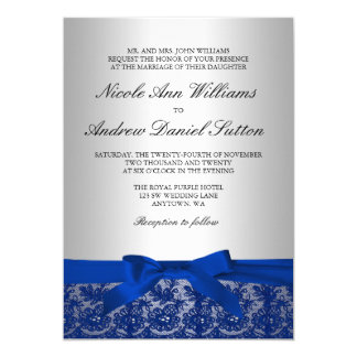 Navy Blue and Silver Lace Wedding 13 Cm X 18 Cm Invitation Card