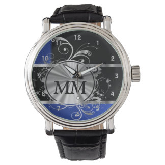 Navy blue and silver monogram on black watch