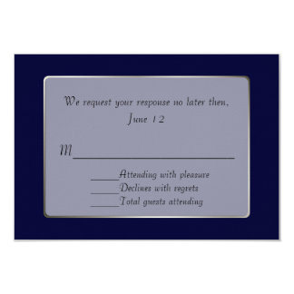 Navy Blue and Silver Tone RSVP Card