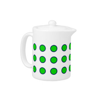 Navy Blue and Summer Green Polka Dots on White