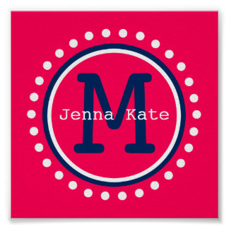 Navy Blue and Summer Pink Polka Dot Monogram Tiny Poster