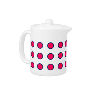 Navy Blue and Summer Pink Polka Dots on White