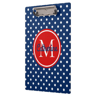 Navy Blue and Summer Red Polka Dot Monogram Clipboard