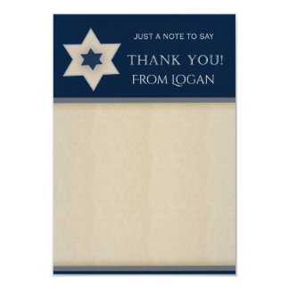 Navy blue and Tan Star of David Thank you notes Card