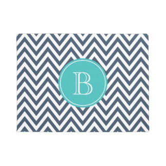 Navy Blue and Turquoise Chevron Custom Monogram Doormat