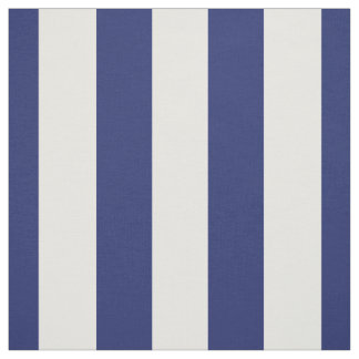 """Navy Blue and White 1.5"""" Stripes Pattern Fabric"""