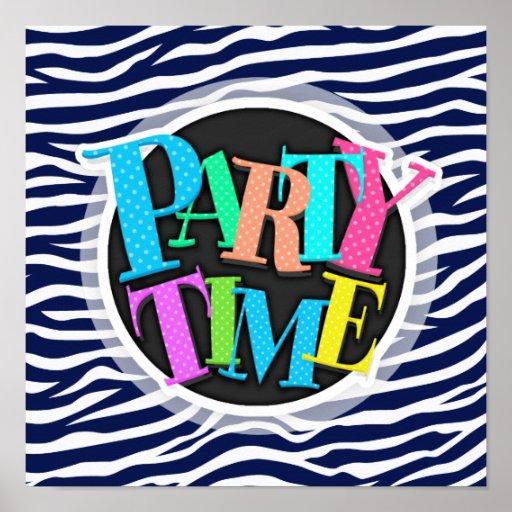 Navy Blue and White Animal Print Zebra Stripes