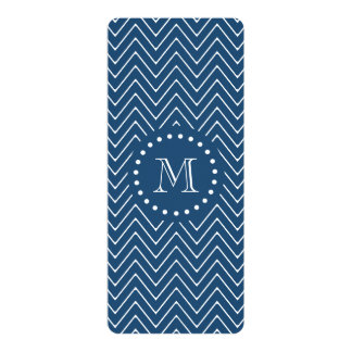 Navy Blue and White Chevron Pattern, Your Monogram 10 Cm X 24 Cm Invitation Card