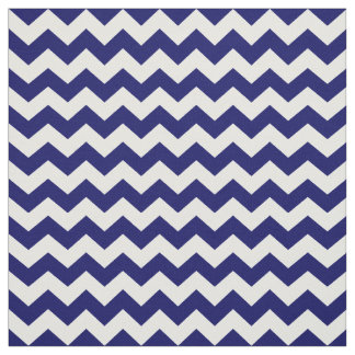 Navy Blue and White Chevron Zigzag Pattern Fabric
