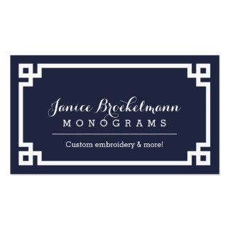 Navy Blue and White Chic Greek Key Border Pack Of Standard Business Cards