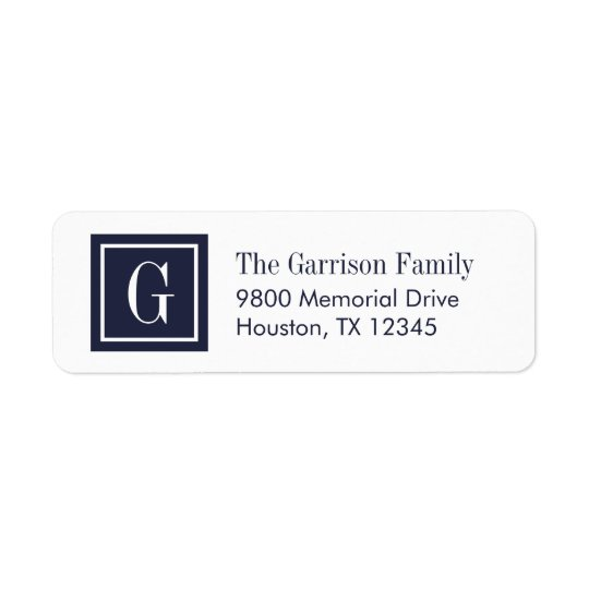 Navy Blue and White Classic Square Monogram Return Address Label