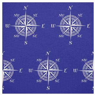 Navy Blue And White Coastal Decor Compass Rose Fabric