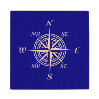 Navy Blue And White Coastal Decor Compass Rose Maple Wood Coaster