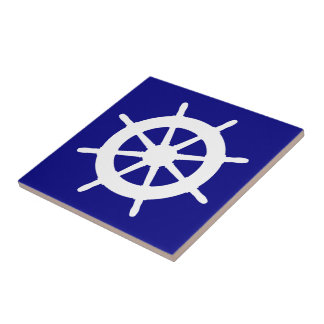 Navy Blue And White Coastal Decor Helm Ceramic Tile