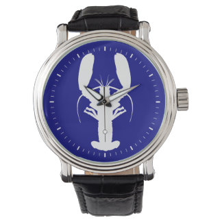 Navy Blue And White Coastal Lobster Wristwatches