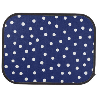 Navy Blue and White Confetti Dots Pattern Car Mat