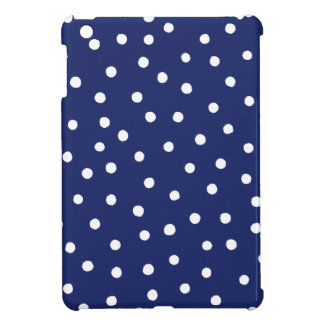 Navy Blue and White Confetti Dots Pattern Case For The iPad Mini