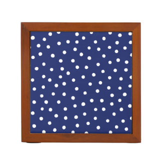 Navy Blue and White Confetti Dots Pattern Desk Organiser